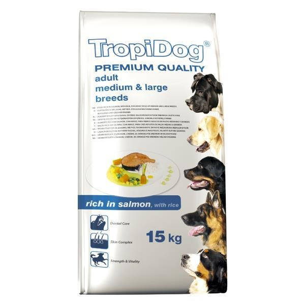 TropiDog Adult M&L losos 15 kg