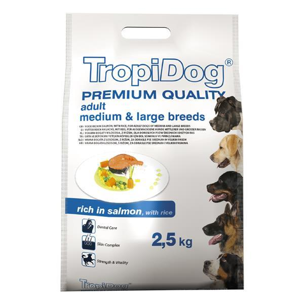 TropiDog Adult M&L losos 2,5 kg